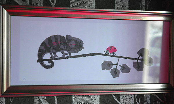 "Eugene the chameleon, a print in the ""Brighton Faunatic"" exhibition at Hotel Pelirocco"