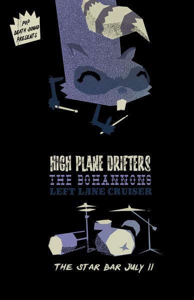 raccoon print, gigposter, drums, live act, screenprint, high plane drifters, petting zoo