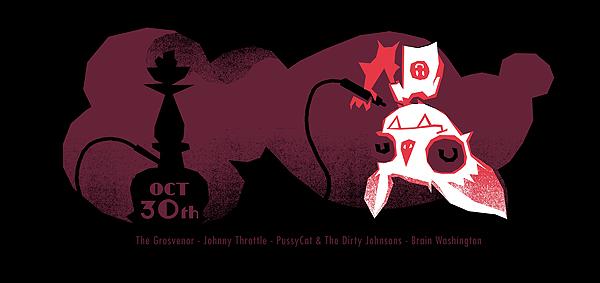 Petting Zoo's screenprinted bat poster for Brain Washington's London halloween show