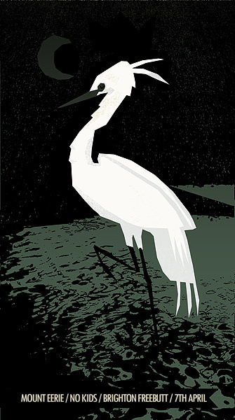 Petting Zoo Prints & Collectables screenprinted gig poster - Mt Eerie - Brighton Freebutt.  3 colours (1 blend), 42cm x 22cm