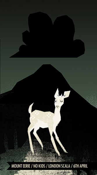 Petting Zoo Prints & Collectables handprinted gig poster for Mount Eerie