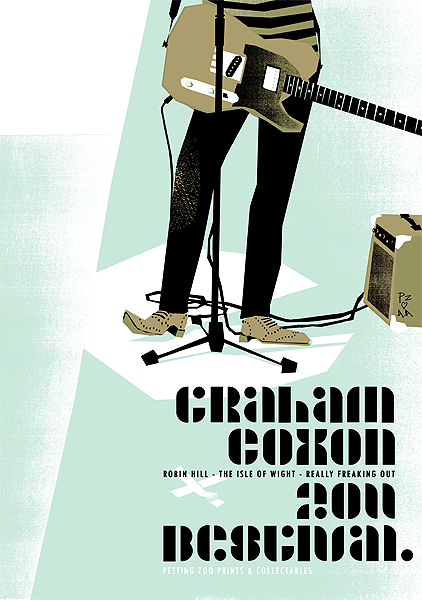 Graham Coxon gigposter - IOW, Bestival - Screenprint, limited edition - Petting Zoo Prints & Collectables