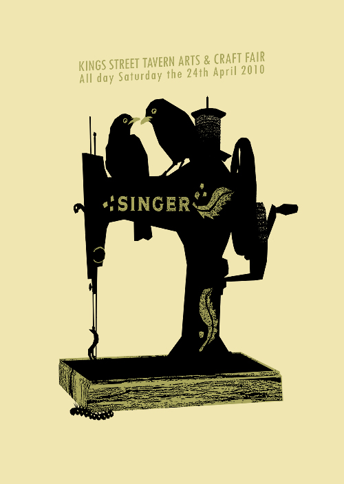 Petting Zoo's screenprinted poster for the King Street Tavern's April Artfair - featuring a pair of blackbirds on a vintage singer sewing machine