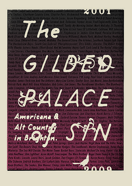 Commemorative print for friends of the Petting Zoo team, The Gilded Palace Of Sin - promoters of Americana and alt-folk shows in Brighton since 2001