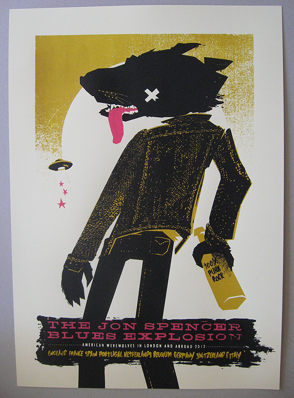 Jon Spencer Blues Explosion tour poster. Petting Zoo Prints