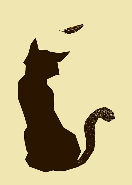 cat screenprint, feather, vintage style, petting zoo prints,