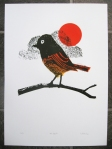 "screenprinted poster of a black redstart ""Mr.Christo"" by Petting Zoo Prints & Collectables"