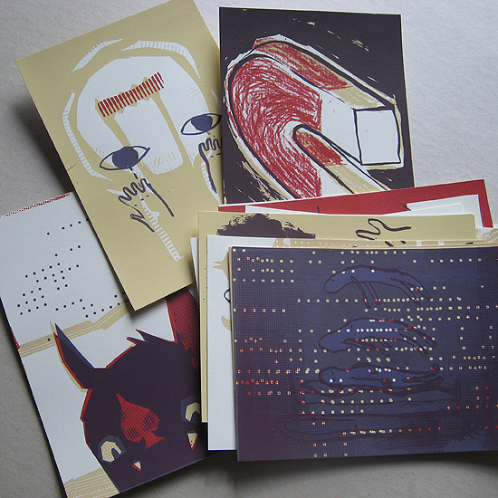 screenprinted postcards by Palefroi & Petting Zoo