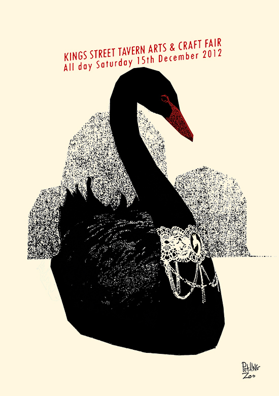 black swan screenprint by Pettin Zoo Prints & Collectables