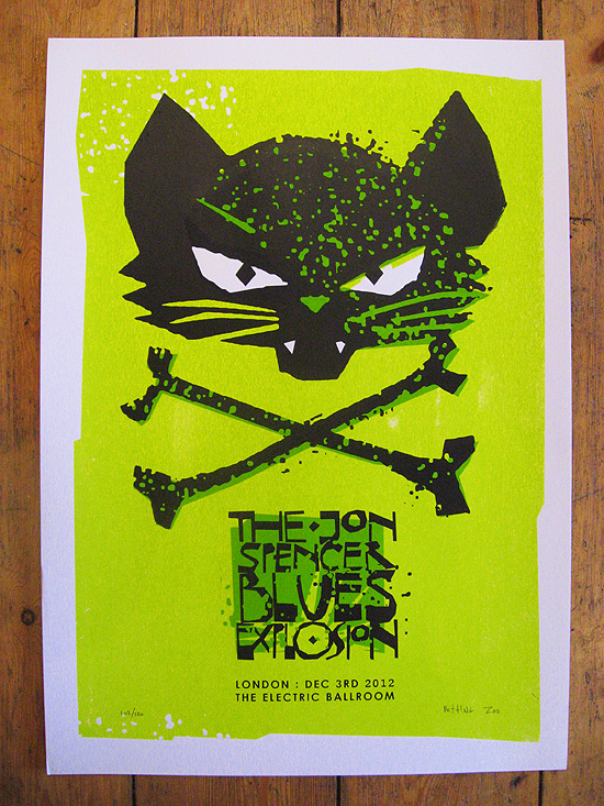 JSBX poster - petting zoo - camden - london - cat and crossbones - black mold