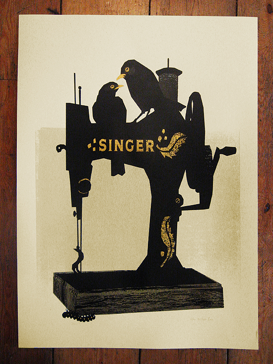 singer sewing machine blackbird print - serigraph