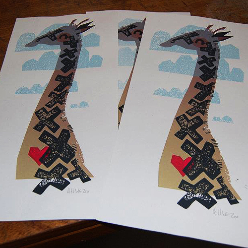 Petting Zoo serigraph, giraffe print, free art friday giveaway
