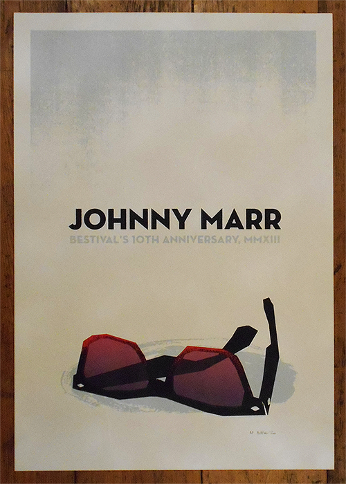 concert memorabilia for Johnny Marr by Petting Zoo