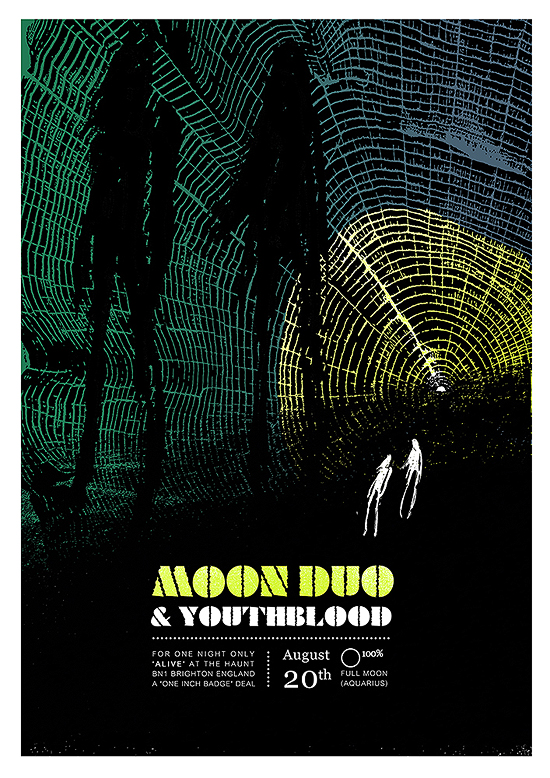 limited edition gig poster screenprinted by petting zoo prints and collectables : Moon Duo & Youthblood
