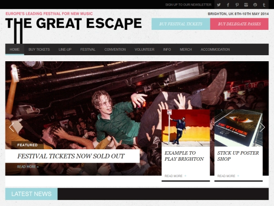 front page of the great escape festival shows a petting zoo poster in an article link to the stick up poster show