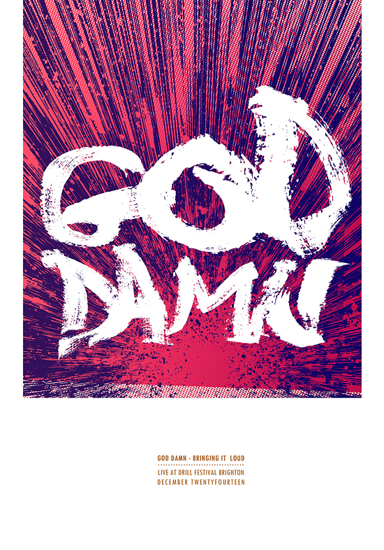 go damn screenprinted gigposter by Petting Zoo