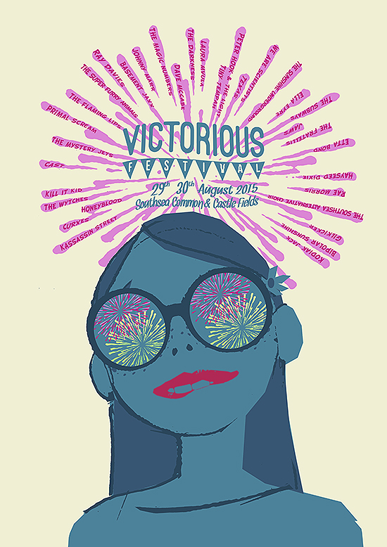 victorious festival poster lineup of rock and roll bands and dance and soul live acts printed by Petting Zoo