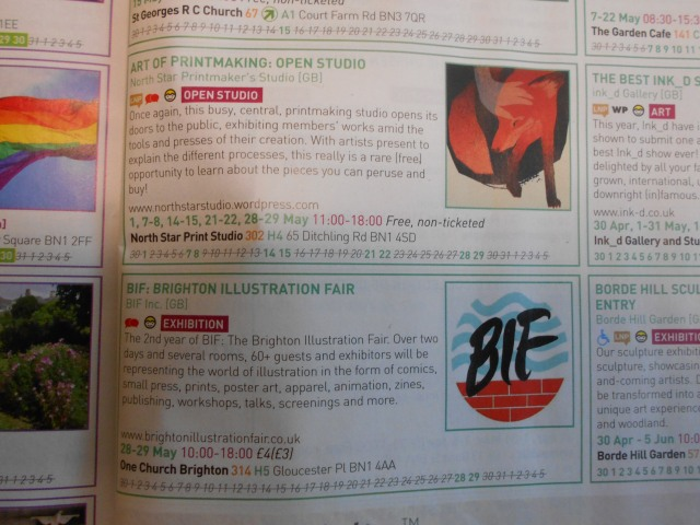 fringe brochure listings for north star open studio and brighton illkustration fair